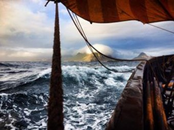 Rough Seas in Lofotr, A replica of the 9th Century Viking Longship, Gokstad.