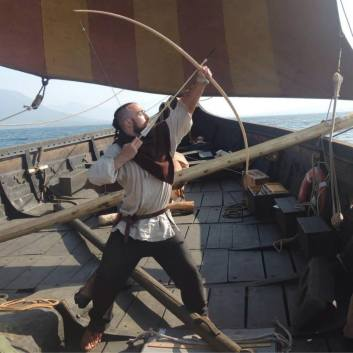 Shooting an Arrow from the Gokstad Ship