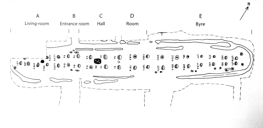 Plan of the foundations Borg I, the Chieftain's Longhouse; showing walls, postholes and charcoal remains in the Living (Room A) and what's now called the Feast Hall (Room C).