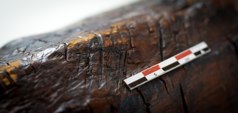 Up close, some tool marks on the Ralaghan bog figurine.