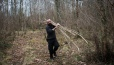 Collecting Hazel Rods to make the wattle walls