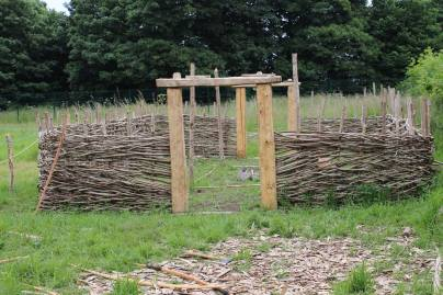 The post and wattle made Viking Longhouse at UCD Centre for Experimental Archaeology and Material Culture